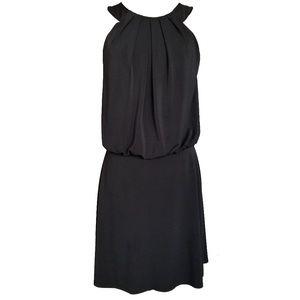 WHBM Black Halter Pleated Neck Keyhole Dress 4